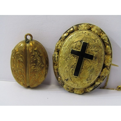 520 - 2 YELLOW METAL LOCKETS, 1 floral form with enamel cross and locket back, cross opens to reveal secon...