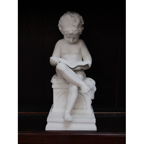 6 - PARIAN FIGURE, seated Boy reading book, chip to square base, 11