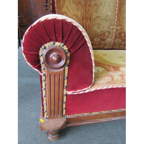 674 - IMPRESSIVE ART NOUVEAU SETTEE,  Art Nouveau high back scroll arm mahogany framed settee with origina...