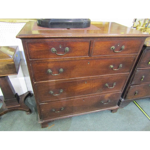 676 - GEORGIAN MAHOGANY CHEST, 2 short, 3 long graduated drawers with brass swan neck handles and bracket ...
