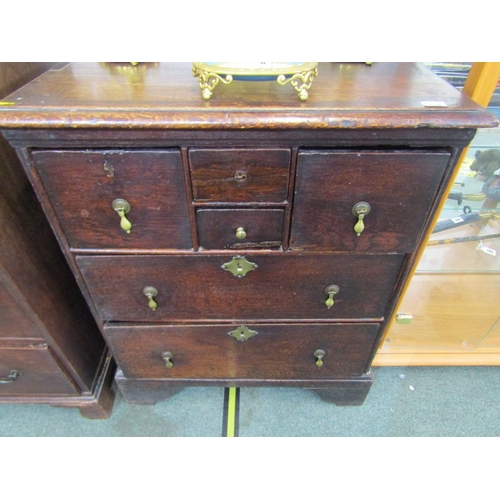 678 - ANTIQUE OAK LINEN PRESS BASE, chest base of 4 short drawers and 2 long drawers with brass pear drop ...