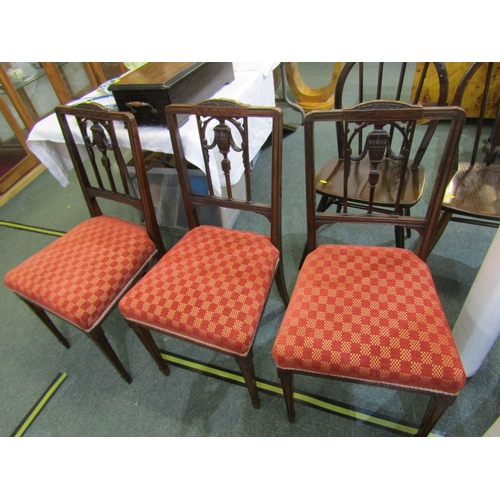 680 - EDWARDIAN DINING CHAIRS, set of 6 carved walnut swag design back dining chairs with tapering square ...
