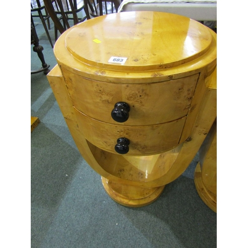683 - ART DECO DESIGN, pair of drum twin drawer bedside tables with U shaped supports, possibly in burr ma...
