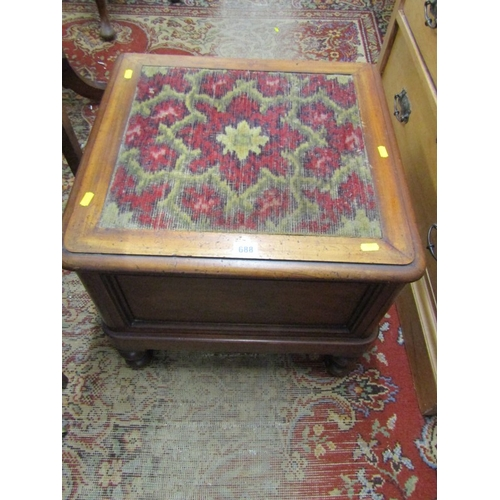 688 - VICTORIAN MAHOGANY BOX COMMODE, inset carpet top, 20