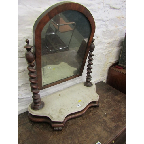 691 - VICTORIAN SWING DRESSING MIRROR, shaped marble base with pair of barley twist mahogany supports, 26
