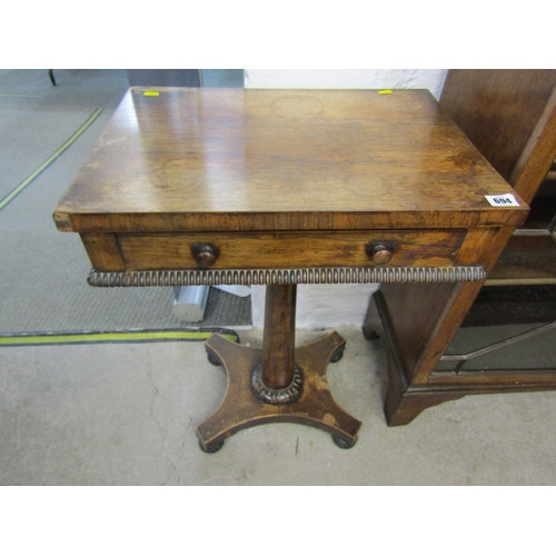694 - VICTORIAN ROSEWOOD NEEDLEWORK TABLE, tapering pillar on quadrefoil base and single frieze drawer (re...