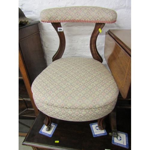 696 - VICTORIAN PRAYER CHAIR, carved scroll feet with original castors and reupholstered in damask