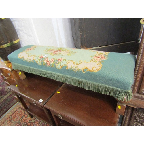 702 - TAPESTRY UPHOLSTERED LONG STOOL with oak stretcher base, 40