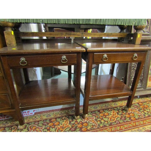 703 - PAIR OF MAHOGANY BEDSIDE TABLES, frieze drawers with open shelf bases, 20
