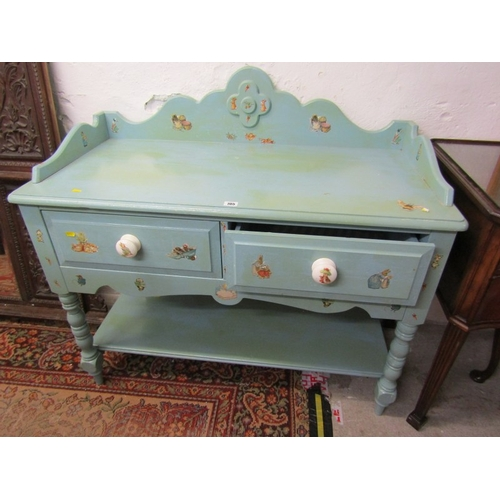 705 - PAINTED WASH STAND, painted twin drawer wash stand with open lower shelf on baluster turned legs, 42...