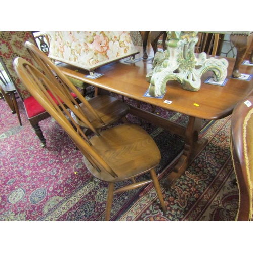 713 - ERCOL, Ercol elm rectangular top dining table with set of  4 spindleback highback dining chairs