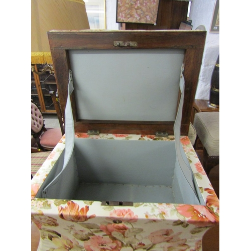 714 - FLORAL UPHOLSTERED BOX OTTOMAN, 24