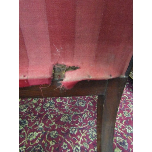 715 - VICTORIAN PRAYER CHAIR, tapestry upholstered back with foliate cresting and inverted baluster legs w...