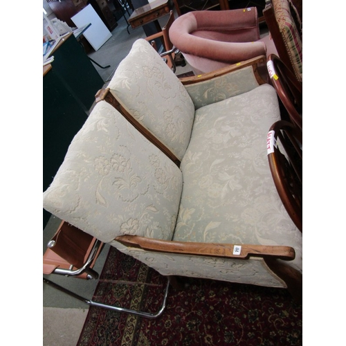 717 - ART NOUVEAU SETTEE, carved oak framed 2 seater settee, reupholstered in floral relief damask and ori...