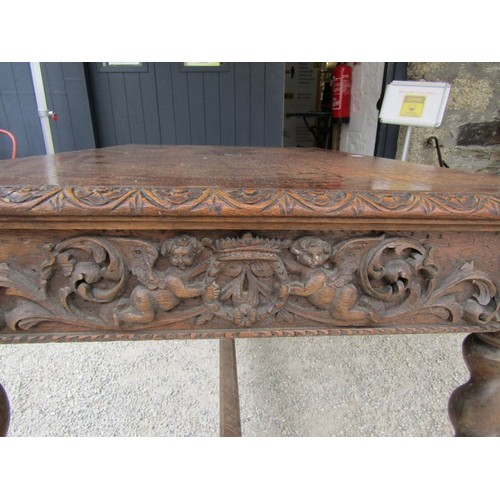 673 - MID 19TH CENTURY GOTHIC OAK TABLE, with plaque to centre 'made in 1859 from beams taken from the hou...
