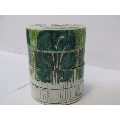 33 - ORIENTAL CERAMICS, Famille Verte 4 tier cylindrical stacking jar decorated with children playing, 4