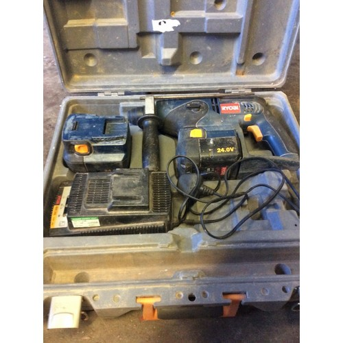 32 - COLLECTION PAR; plus VAT RYOBI, 24 volt SDS hammer drill, with charger and 2 batteries (batteries ma...
