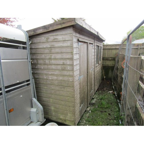 40 - COLLECTION LUXULAN; 12ft X 8ft wooden shed with pent felt roof and double door to front, with rackin...