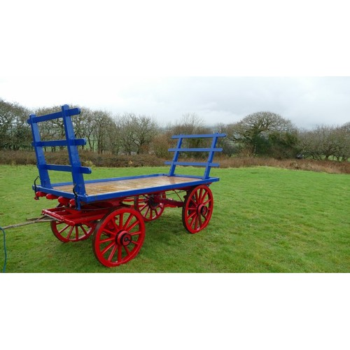 43 - COLLECTION COOMBE; HAY WAGON, horse drawn 4 wheeled hay cart, flat bed farm wagon, made by Hosking, ...
