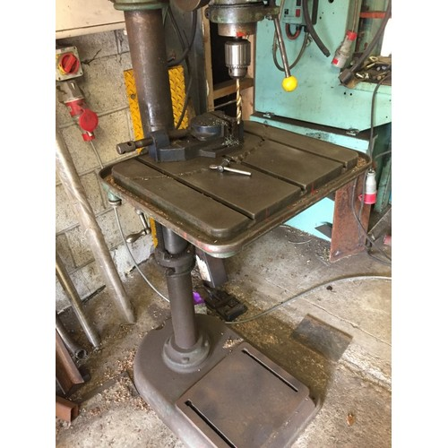 48 - COLLECTION PAR; plus VAT FLOOR STANDING PILLAR DRILL, 3 phase with chuck key and drill vice