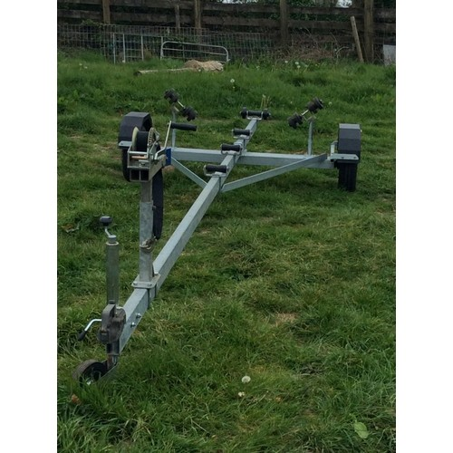 55 - COLLECTION PAR; Galvanised boat trailer DIMENSIONS  5.8 mtr overall length  1.7 mtr wide inside whee...