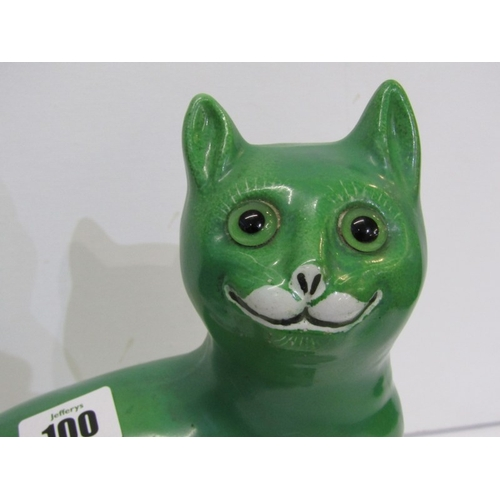 100 - GALLE STYLE SMILING CAT, a green glazed porcelain seated Cat figure, 9