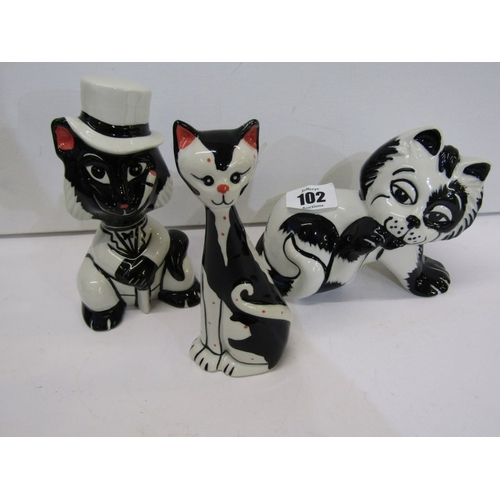 102 - LORNA BAILEY, 3 comical Cat figures