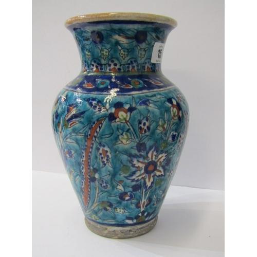 15 - IZNIK/PERSIAN, 19th Century blue ground floral pottery vase, 10