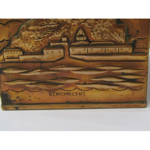 151 - NEWLYN-STYLE COPPER, square base tea caddy by H Dyer depicting St Michael's Mount, harbour and fishi...
