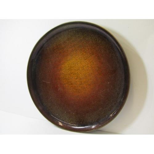 167 - NORWEGIAN ENAMEL, David Anderson cherry enamelled shallow circular dish, 11