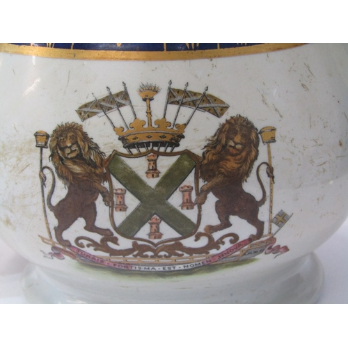 17 - PLYMOUTH CRESTED IRONSTONE, 2 graduated milk jugs with Plymouth crest, 7