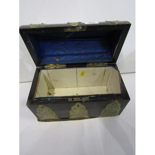 179 - VICTORIAN STATIONERY BOX, engraved brass mounted coromandel box, 10