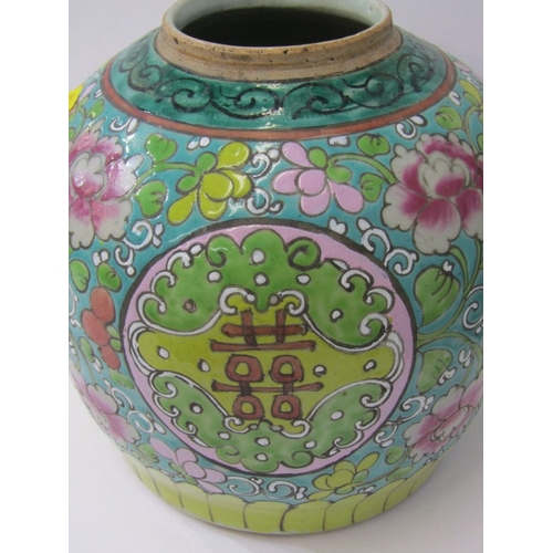 18 - ORIENTAL CERAMICS, pair of large stoneware ginger jars, decorated with polychrome floral and Eastern...