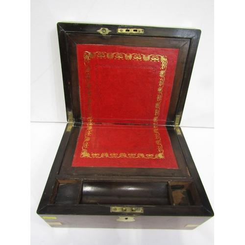 181 - VICTORIAN WRITING BOX, burr walnut writing box with brass inset corners, 12