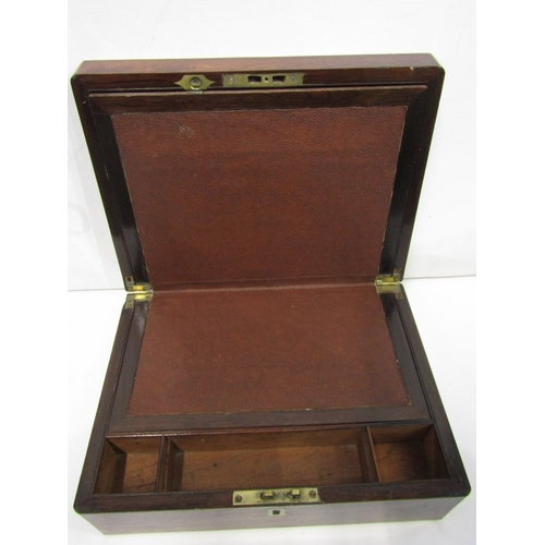 189 - ROSEWOOD WRITING BOX, 19th Century brass inlaid writing box with fitted interior, 12
