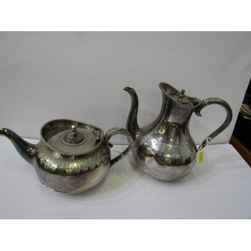 203 - SILVER PLATE, 19th Century acanthus leaf decorated coffee & tea pot