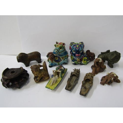 207 - ORIENTAL CARVINGS, collection of miniature oriental carvings and figures including boats