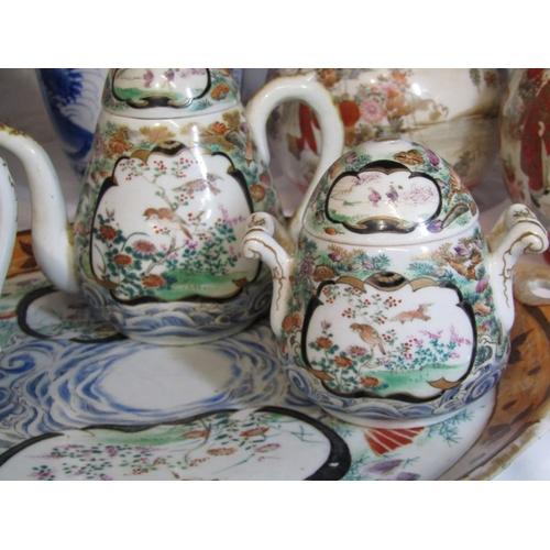 21 - ORIENTAL CERAMICS, Japanese porcelain 4 piece cabaret set, consisting of twin handled circular tray,...