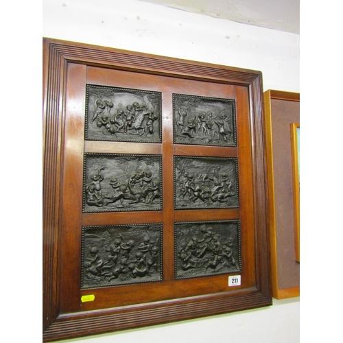 211 - BRONZE, framed set of 6 bronze relief plaques depicting mythological scenes, 4.5