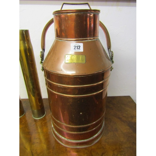 212 - 2 GALLON COPPER WATER JAR with original lid and swing handle, max height 22