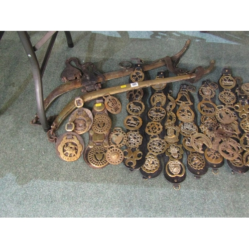 231 - BRASSWARE, pair of vintage horse hames, collection of horse brasses and pair of leather gaiters
