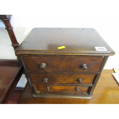 235 - VICTORIAN TABLETOP CABINET, walnut triple drawer tabletop cabinet with wooden knop handles, 10