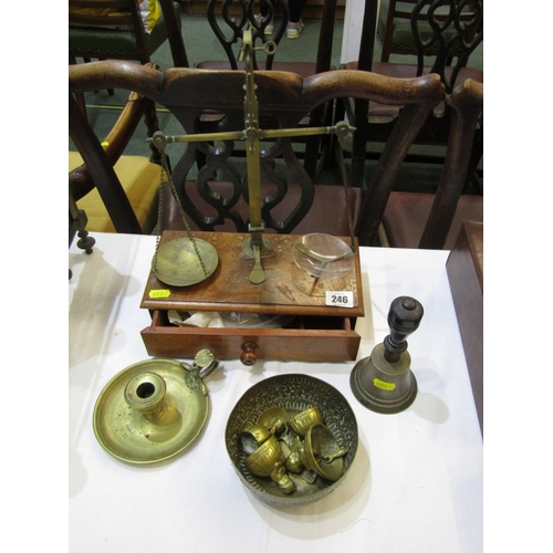 246 - ANTIQUE BALANCE SCALES, mahogany drawer base brass column balance scales, also Victorian engraved cr...