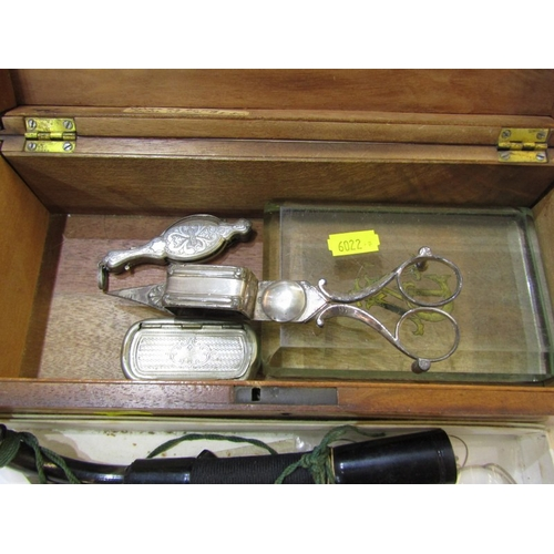 247 - PARQUETRY DOCUMENT BOX, antique candle snuffers, folding lorgnettes, etc