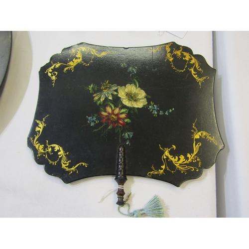 254 - VICTORIAN PAPIER MACHE, pair of 19th Century gilt and floral fan panels, together with antique carve...
