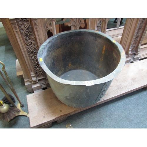 265 - ANTIQUE METALWARE, rivetted copper circular log cauldron, 18