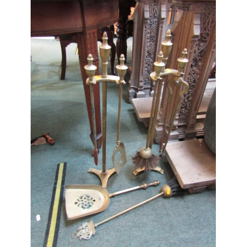 266 - METALWARE, pair of brass fire companion stands with tools, together with 2 brass based table lamps