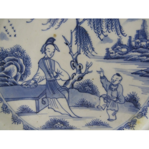 33 - ORIENTAL CERAMICS, Chinese underglaze blue desert plate decorated with Mother and Child playing, 2 s...