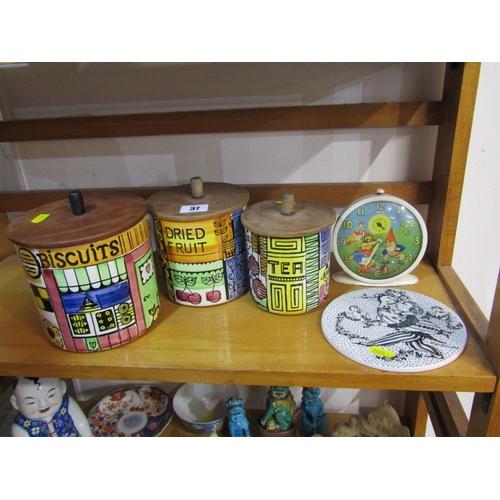 37 - RETRO, 3 Swedish pottery storage jars with original wooden lids, also Danish retro tea pot stand and...