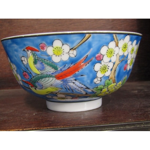 38 - ORIENTAL CERAMICS, 3 glazed small temple dogs, Imari petal shaped dish, carved soap stone temple gro...
